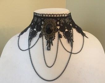 Gothic Style Black Lace Necklace, Elegant Collar Necklace, Choker Necklace, Lace Choker,