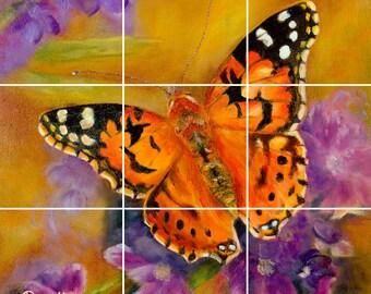 Metamorphosis Butterfly Tile Mural Painting Back Splash Kitchen Home Decor Art