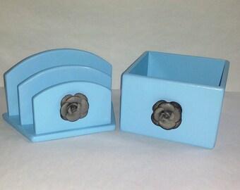 Office Organization,Baby Blue,Set of 2,Mail Organizer and Storage Box,Marker Storage,Stationary Storage,Craft Storage,Desk Organization,Blue