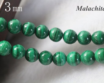 3 mm,AA Malachite beads, Natural and Smooth Round Beads, 15 inch strands