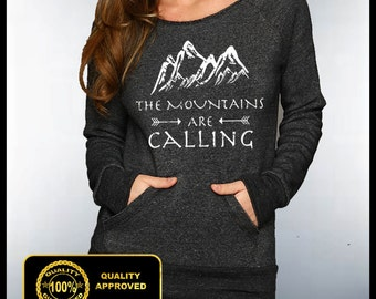 Mountains Are Calling Off Shoulder Sweatshirt, The Mountains Are Calling I Must Go Tshirt, Raw Off Shoulder Eco Sweatshirt