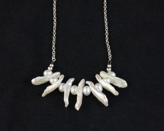 Biwa Pearl Necklace on Sterling Silver Chain