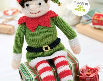 Christmas Elf Toy Knitting Pattern 30cm Standing DK - knitting pattern  PDF Download