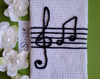 Crochet iPhone case Music notes Phone case Notes Crochet phone case with music notes Phone cozy Android case music notes