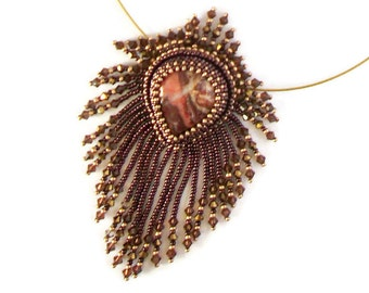Embroidered pendant necklace, Brown and golden Necklace, ethnic necklace