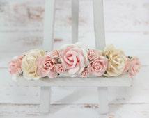Flower crown - ivory and pink flower headpiece - hair accessories - floral hair wreath - halo - garland