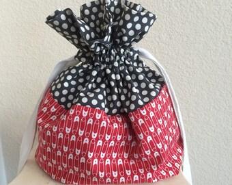 Drawstring bag, Sock knitting bag, Drawstring project bag, Knitting project bag, Crochet project bag, Yarn bag, Red, Gray
