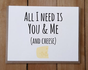 You and Me and Cheese: Valentine's Day Card, Anniversary Card, Love Card, Friendship Card