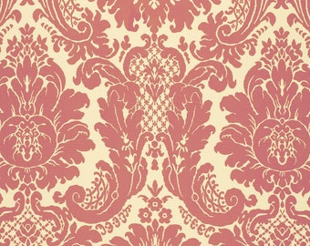 SCHUMACHER LOTUS MEDALLIONS Woven Damask Fabric 10 yards Pink