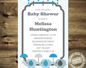 Boy Baby Shower Invitation Blue Elephant  BabShow_inv_026