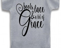 Gray Crew Neck boots, lace, & a lot of grace Cute Printed on The Laughing Giraffe 7.2 oz