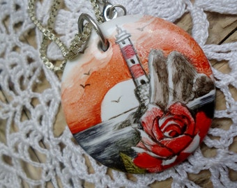 Painted porcelain pendant sunset landscape with lighthouse and rosa