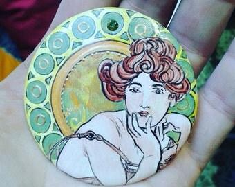 "Hand-painted porcelain brooch, Mucha ""Topaz"", Art Nouveau, Modern style"