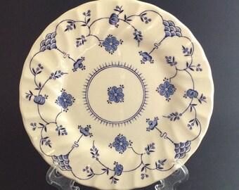 Mylott Finlandia Dessert Plates - Set of Four, Blue on White Scalloped Edge, Made in England