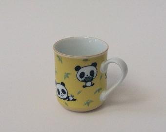 Vintage Panda Cup Mug, Kawaii Panda Cup, Panda & Bamboo Ceramic Cup, Schen Panda Cup