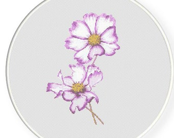 MORE for FREE - Purple Cosmos - Counted Cross stitch pattern PDF - Instant Download - Cross Stitch Pattern - Flower-Love - Needlepoint #1433