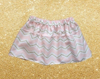 Gold and Pink Chevron Skirt