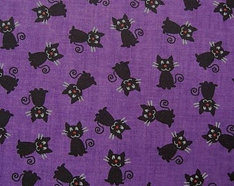 Tiny Black Cats on Purple Quilting Fabric Cat Print - Fat Quarter or Yardage