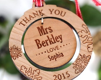 Personalised Thank You Wooden Acrylic Tree Decoration Round Bauble