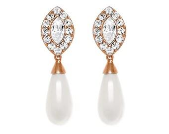 Bridal earrings, Art deco earrings, Bridal jewelry, Rose gold earrings, Bridesmaid earrings