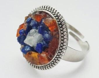 Orange  crystal ring, gemstone ring, sterling silver, adjustable ring, chakra ring, gemstone ring, gypsy ring, silver ring, friendship r