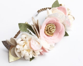 Flower Crown - Baby Flower Crown - Felt Flower Headband - Pink Baby Crown