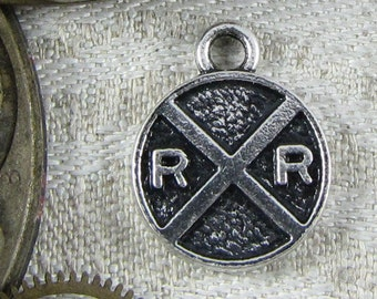1 (or 6) Railway or Railroad Crossing Silver Charms, SYM062