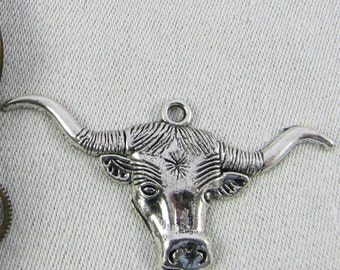 1 (or 2) Long Horn Steer (larger) Silver Charms, ANM067