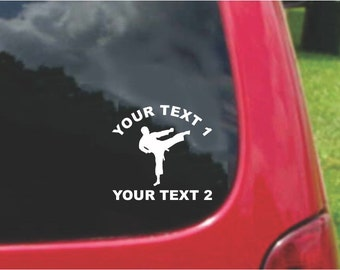 Set Karate Decals with custom text Fundraising  20 Colors To Choose From.  U.S.A Free Shipping