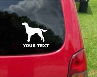Set (2 Pieces) Irish Setter Dog Sticker Decals with custom text 20 Colors To Choose From.  U.S.A Free Shipping