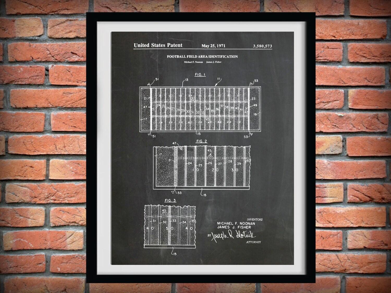 Nfl Wall Art patent 1971 football field layout- art print poster - sports wall