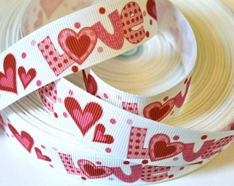 7/8 inch LOVE Cute Letters on White (Valentine's Day) -  Printed Grosgrain Ribbon for Hair Bow