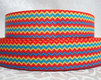 7/8 inch HORIZONTAL CHEVRON - Cat Hat COLORS - Printed Grosgrain Ribbon for Hair Bow