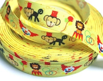 7/8 inch Circus on Yellow - Printed Grosgrain Ribbon for Hair Bow