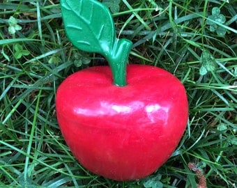Red Eco Friendly Apple, Teacher Gift, Recycled Crayon Apple
