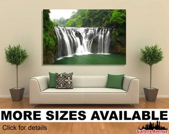 Wall Art Giclee Canvas Picture Print Gallery Wrap Ready to Hang - Waterfalls in Shifen Taiwan - 60x40 48x32 36x24 24x16 18x12 3.2