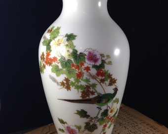 Vintage  Oriental Vase with Pheasant and Flowers  24k Gold Trim  Made in Japan Asian Ceramic Flower Vase Asian Decor 1960s