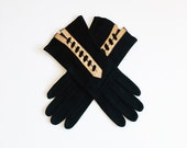 40's black suede gloves with gold metallic leather trim and laces / evening gloves / formal gloves / elegant gloves / size 6 gloves