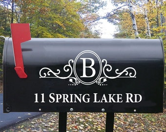 Mailbox Decal Sticker with personalized address, Mailbox Decor with scrollwork design - Oval Elegance