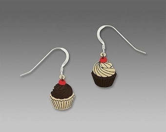 Chocolate Vanilla Cupcake Cupcakes Icing Bakery Baked  Baker Goods Baking Earrings with Gift Box