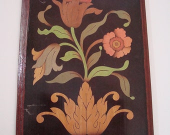 Vintage Lacquered Wood Floral Plaque