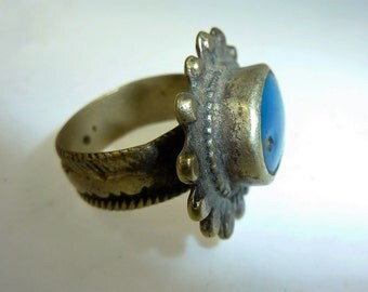 Old oriental Ring with Turquoise Glasstone, US Size 8