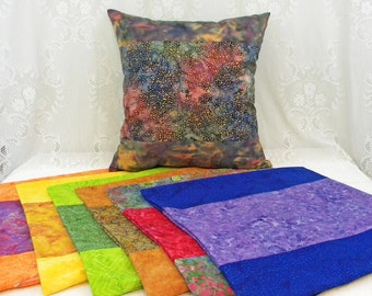 Pillow Covers, Set of Seven Jeweltone Covers for 18 Inch Pillows, Gypsy Style, Boho, Indonesian Cotton Batik, Zipper Close