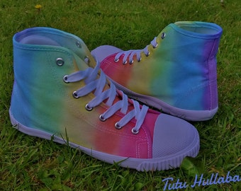 LGBT Pride Hightops - Rainbow Dyed Shoes - Tie Dyed Plimsolls