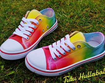 Tie Dye Shoes - Summer Canvas Plimsoll Shoes - Rainbow Bright Colours - LGBT Shoes