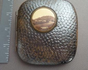 Unusual gunmetal/brass cigarette case