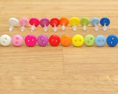Tiny button plastic stud hypoallergenic earrings in rainbow bright colours, everyday earrings for work, school & sport - swim safe jewellery