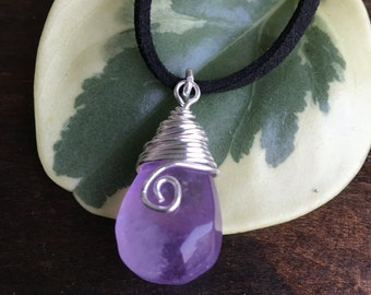 Amethyst Pendant, coiled, spiral, Sterling Silver Filled, gemstone pendant, february birthstone.