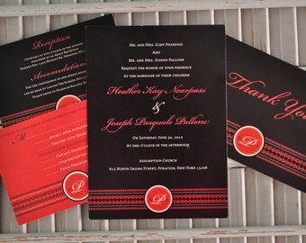 traditional black and red monogram wedding invitation suite - Black And Red Wedding Invitations