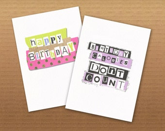 Birthday Cards Colourful- Happy Birthday / Calories  2 Pack